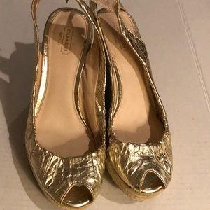Coach gold peep toe wedge Sz 9